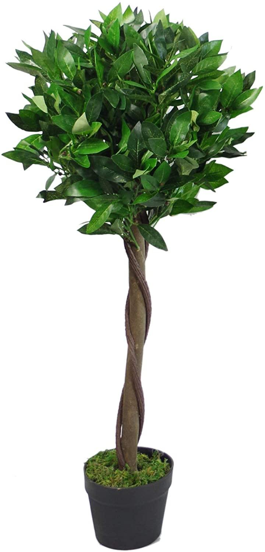 Árbol de Laurel Artificial Estilo Bola Trenzado o Liso en Maceta de plástico Negro, 90 cm