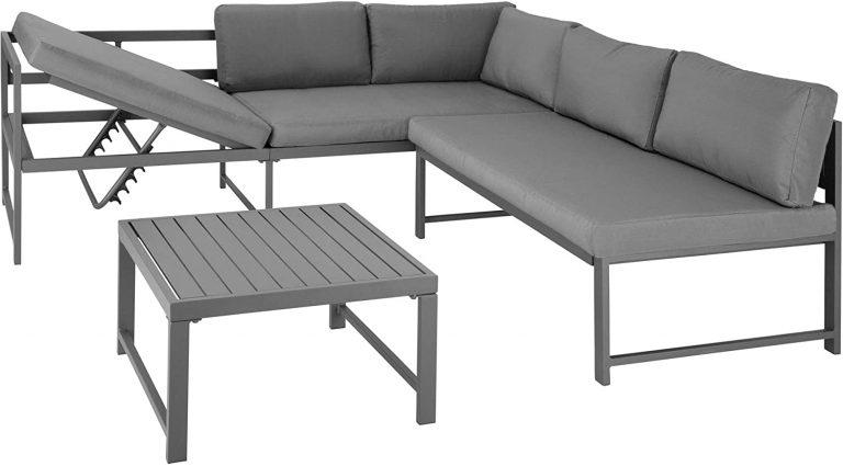 Conjunto de Muebles de Exterior Faro Gris, Mesa, Estructura de Aluminio, Set Inoxidable,