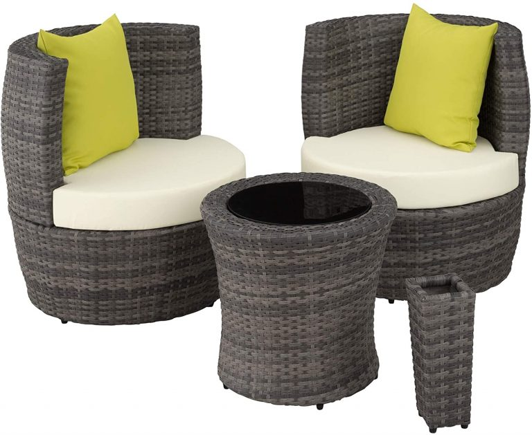 Conjunto de Muebles de Jardín de Poly Ratán y Aluminio,