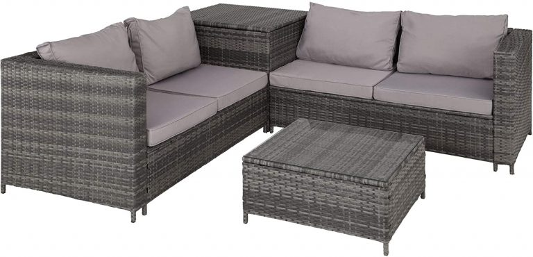 Conjunto de Muebles de Jardín de Ratán, 2 Sofás 1 Mesa 1 Caja de Almacenamiento,