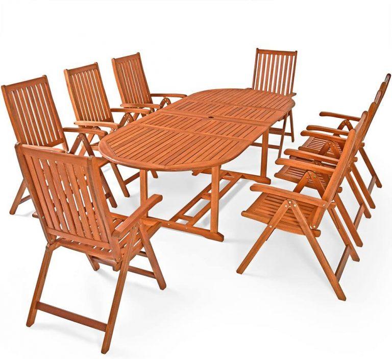 Conjunto de jardín Moreno Juego de una Mesa y 8 sillas Set de Madera de Acacia