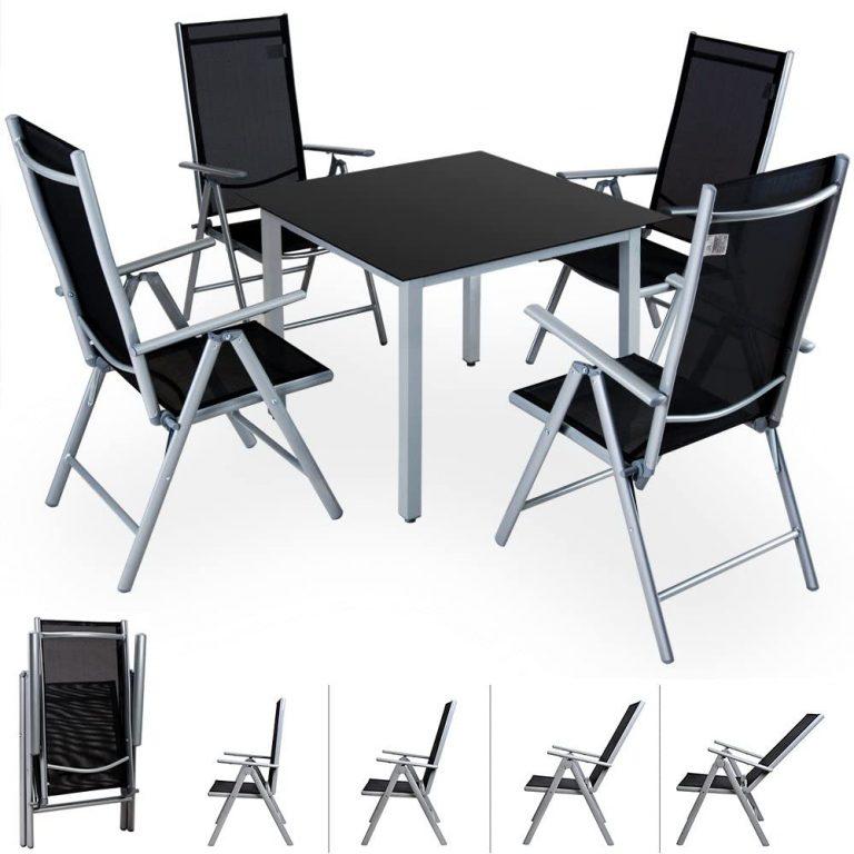 Conjunto de jardín 4+1 aluminio Bern juego de sillas plegables y mesa 90x90cm
