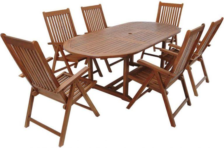 Conjunto de jardín de madera set de 1 mesa con extensión y espacio para sombrilla y 6 sillas plegables exterior