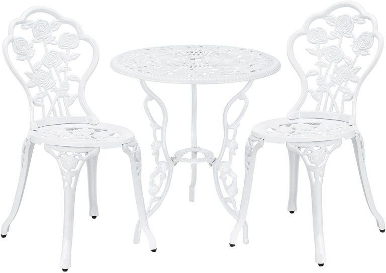 Set Bistro Hierro Fundido Mesa + 2 sillas Blanco Look Antiguo