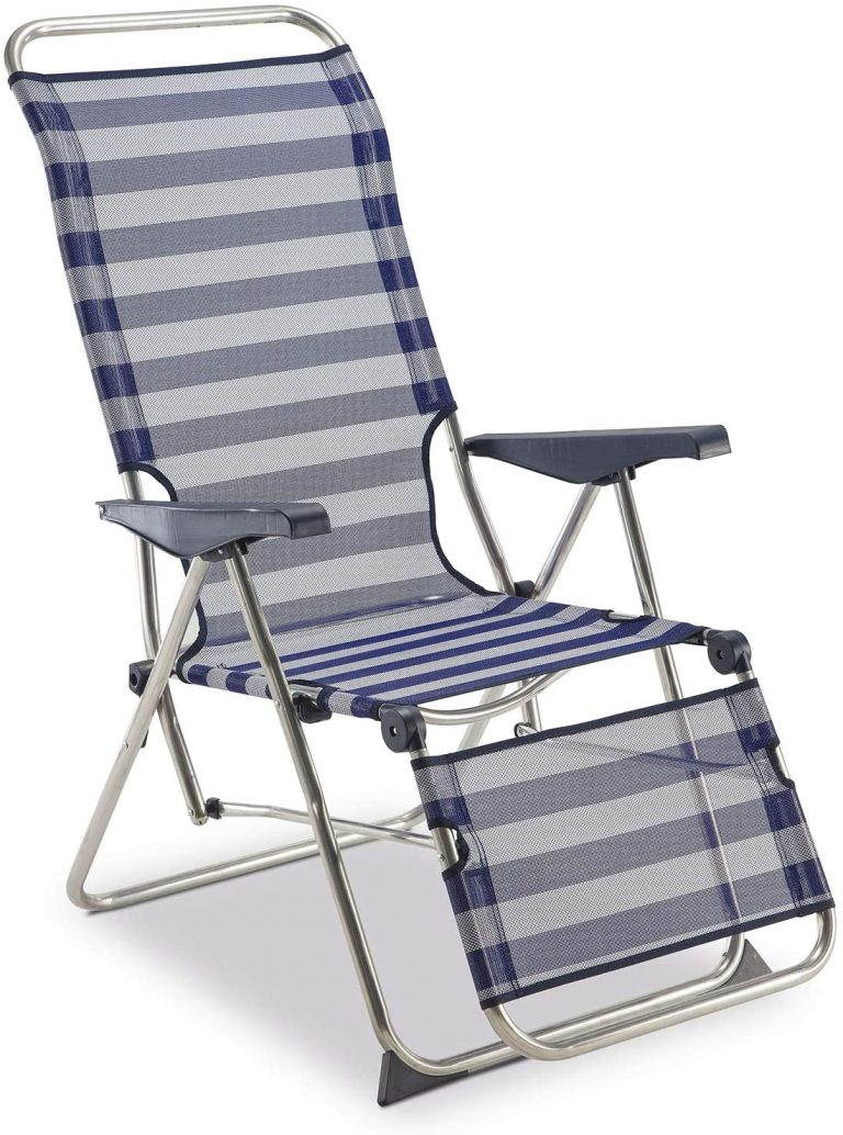 Tumbona Regulable de Jardín Relax 5 Posiciones con Respaldo Anatómico Azul y Blanco