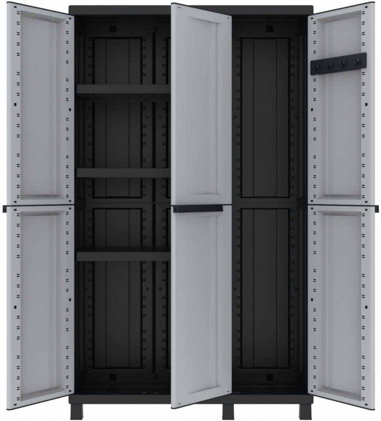 Armario multifunción de 3 Puertas con Dos Separados desarollo Horizontal con 3 estantes y un Compartimento con desarrolo en Vertical, Gris/Negro, 102x39x170 cm