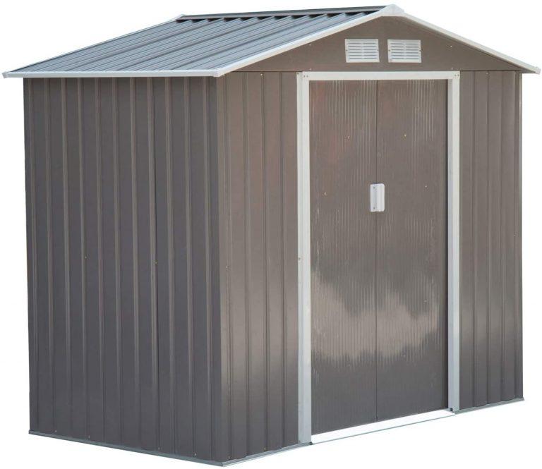 Caseta de Jardín Tipo Cobertizo Metálico para Almacenamiento de Herramientas Base Incluida 4 Ventanas 213x127x185cm