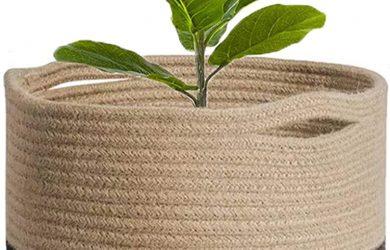 Cesta de cuerda de algodón para macetas de plantas