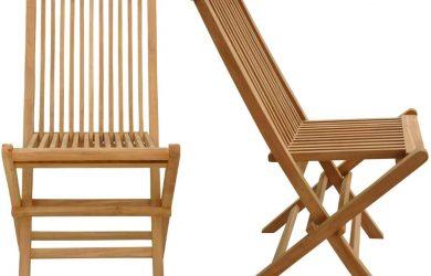 Conjunto de sillas de jardín Plegables en Teca Natural para Exterior