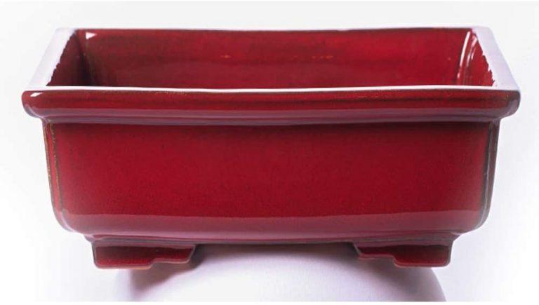 Maceta para Bonsai DE Barro Y ESMALTADA EN Color Rojo Medidas 28X22X10CM