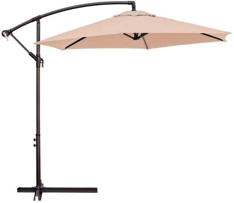 Parasol excéntrico de Aluminio Verde con ventilación para jardín de 270 cm (Beige)