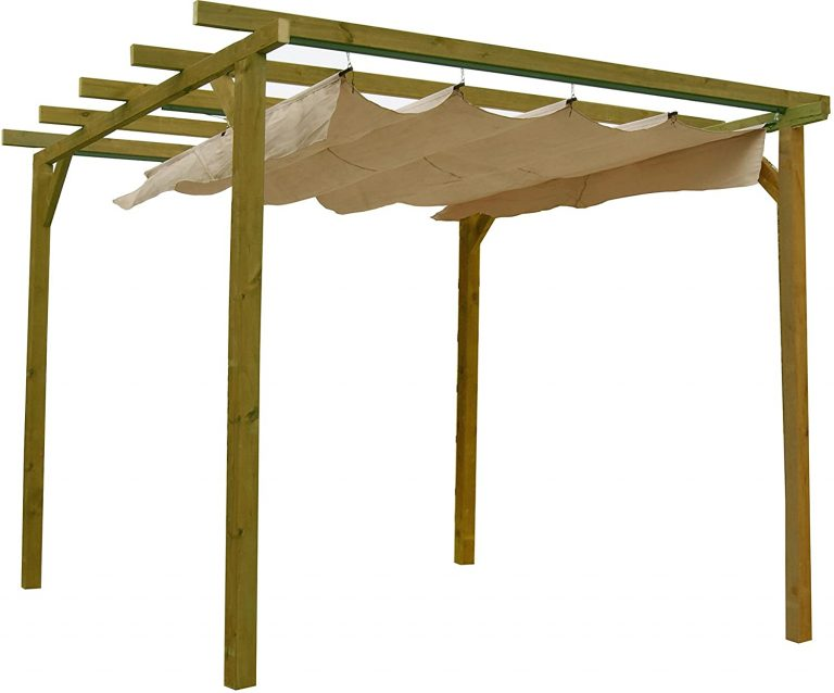 Pérgola de Madera tratada con toldo corredero (270x270x254 cm)