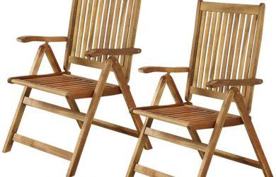 Juego de 2 silla de Madera para terraza (56 x 74 x 102 cm)