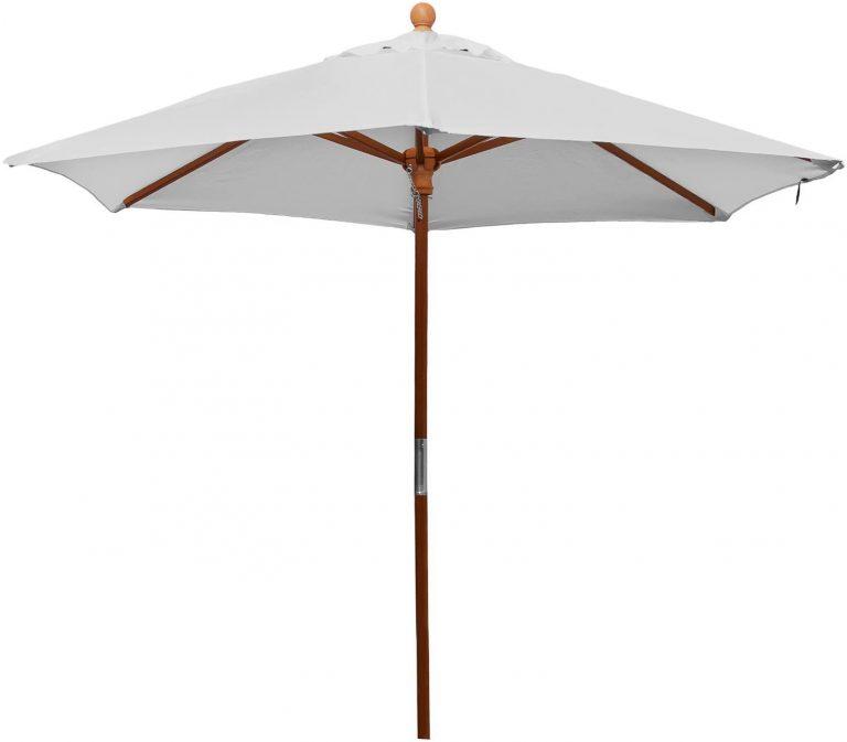 Sombrilla, gris plateado, 210 cm redondo, marco de madera, cubierta de poliéster, 5 kg
