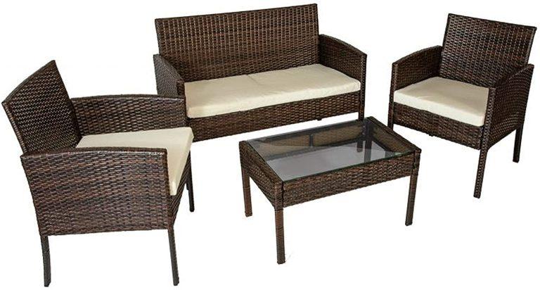 Conjunto de mesa baja, 2 sillas y un sofá dos plazas de jardín