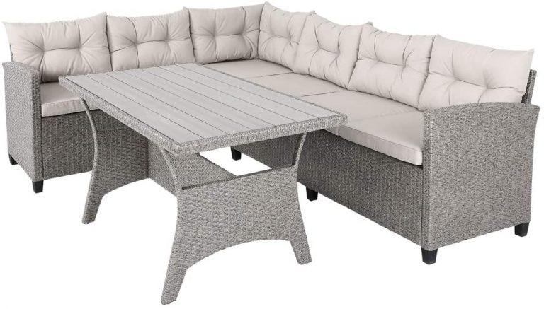 Conjunto muebles de Jardín 6 Personas Sofa de Esquina 340cm con mesa
