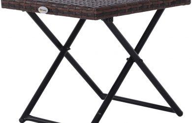 Mesa Plegable para Jardín Terraza Patio de Ratán y Acero Inoxidable con Patas Cruzadas 40x40x40 cm