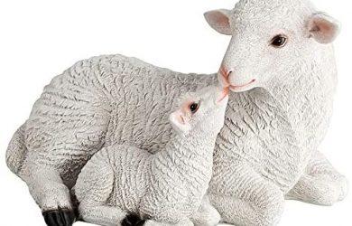Figura decorativa de oveja con cordero para jardín, de piedra artificial,