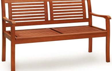 Banco de Madera de eucalipto 2 plazas con Certificado FSC® con reposabrazos Resistente a los Rayos UV para Exterior